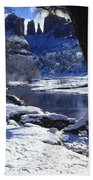 Winter Cathedral Rock Beach Towel