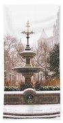 Winter - City Hall Fountain - New York City Beach Towel