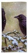 Winter Crows Beach Towel