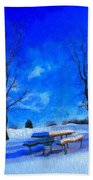Winter Day On Canvas Beach Towel