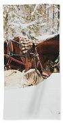 Horses Eating In Snow Beach Towel