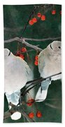 Winter Doves Beach Towel