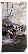 Winter Falls On Big Stone Lake  Beach Towel