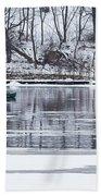 Winter Fishing - Wisconsin River Beach Towel