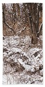 Winter Forest Panorama Beach Towel