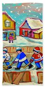 Winter Fun At Hockey Rink Magical Montreal Memories Rink Hockey Our National Pastime Falling Snow   Beach Towel