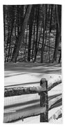 Winter Hut In Black And White Beach Towel
