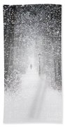Snowing In The Forrest Beach Towel