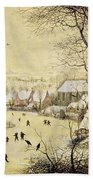 Winter Landscape With Skaters And A Bird Trap Beach Towel