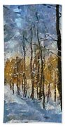 Winter Morning In The Forest Beach Towel