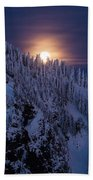 Winter Mountain Moonrise Beach Towel