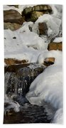 Winter Mountain Stream Beach Towel