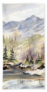 Winter On The River Beach Towel
