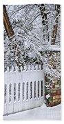Winter Park Fence Beach Towel by Elena Elisseeva