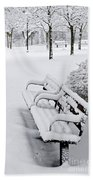 Winter Park With Benches Beach Towel