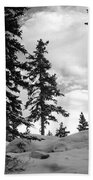 Winter Pines Silhouetted Against The Sky Beach Towel by Cascade Colors