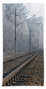 Winter Railroad Beach Towel