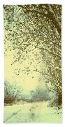 Winter Road Abstract  Beach Towel