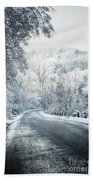 Winter Road In Forest Beach Towel