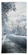 Winter Road In Forest Beach Sheet