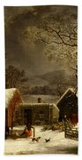 Winter Scene In New Haven Connecticut 1858 By Durrie Beach Towel by Movie Poster Prints