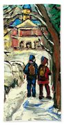 Winter Scene Painting Rows Of Snow Covered Cars First School Day After Christmas Break Montreal Art Beach Towel