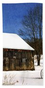 Winter Scenic Farm Beach Towel