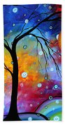 Winter Sparkle Original Madart Painting Beach Towel by Megan Duncanson