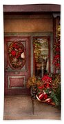 Winter - Store - Metuchen Nj - Dressed For The Holidays Beach Towel by Mike Savad
