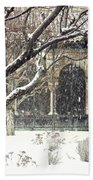 Winter Storm At The Cloisters 3 Beach Towel