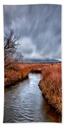 Winter Storm Over Owens River Beach Towel by Cat Connor