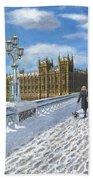 Winter Sun - Houses Of Parliament London Beach Towel