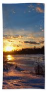 Winter Sundown Beach Towel