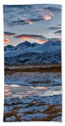 Winter Sunset Reflection Beach Towel
