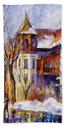 Winter Town - Palette Knife Oil Painting On Canvas By Leonid Afremov Beach Towel