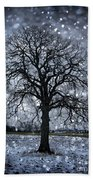 Winter Tree In Snowfall Beach Towel