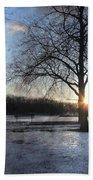 Winter Tree Sunset Beach Towel