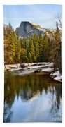 Winter View Of Half Dome In Yosemite National Park. Beach Towel by Jamie Pham