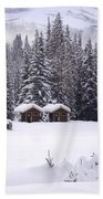 Forest Snow Blanketed Privies - Winter In Banff, Alberta Beach Towel