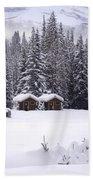 Forest Snow Blanketed Privies - Winter In Banff, Alberta Beach Towel