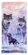 Winter Wolf Family  Beach Towel