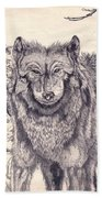 Winter Wolf Beach Towel