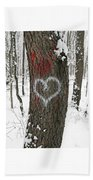Winter Woods Romance Beach Towel
