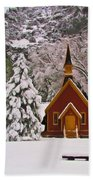 Winter Yosemite Chapel Beach Towel