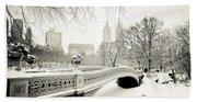 Winter's Touch - Bow Bridge - Central Park - New York City Beach Sheet