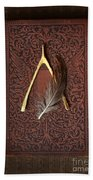 Wishbone And Feather On Antique Book Beach Towel