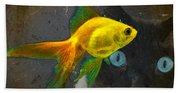 Wishful Thinking - Cat And Fish Art By Sharon Cummings Beach Towel