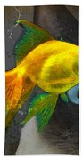 Wishful Thinking - Cat And Fish Art By Sharon Cummings Beach Towel