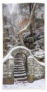 Wissahickon Steps In The Snow Beach Towel