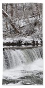 Wissahickon Waterfall In Winter Beach Towel by Bill Cannon